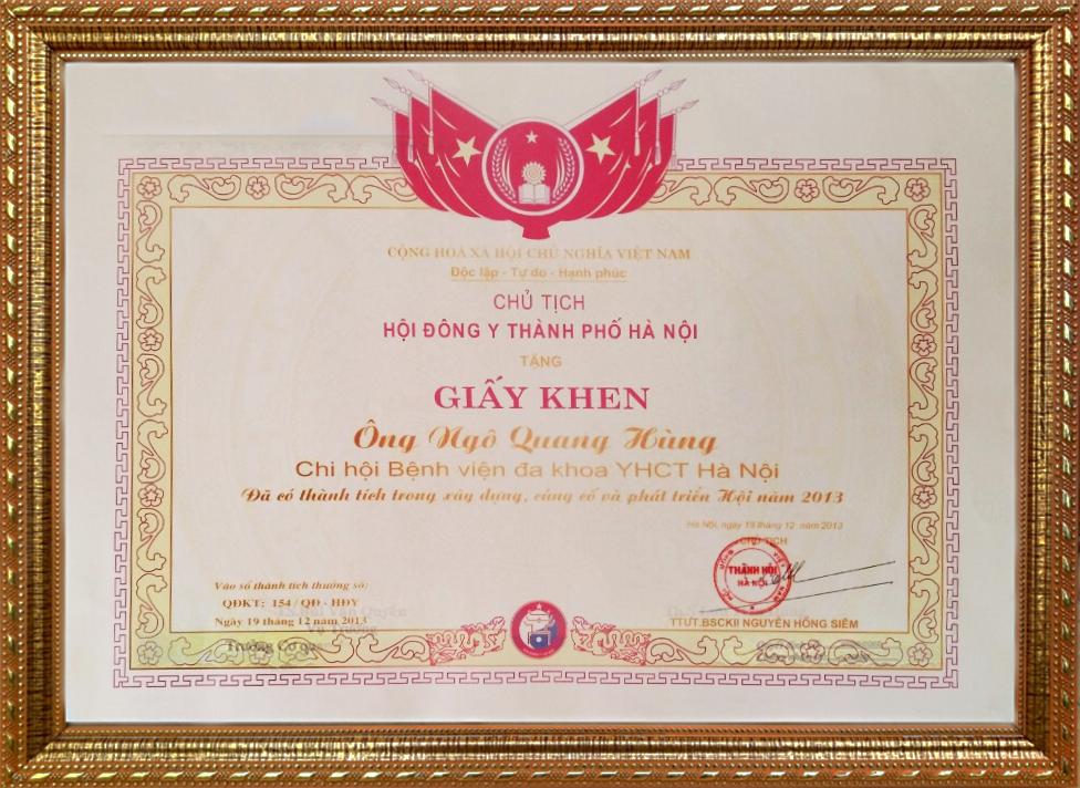 Bằng khen của chủ tịch hội đông y TP Hà Nội năm 2013