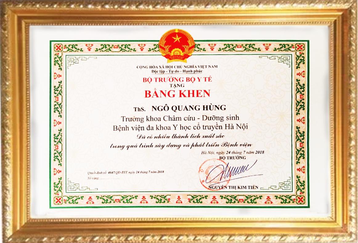 Bằng khen của bộ trưởng bộ y tế 2018 tặng Ths.Bs Ngô Quang Hùng